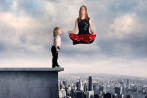 Digital Imaging Photography manipulation floating woman off building and surprised child